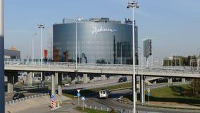 New Radisson BLU hotel in Sheremetyevo airport. stock footage