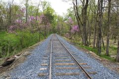 New Rail Road Track. On 1830`s Right of Way stock photography