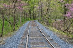New Rail Road Track. On 1830`s Right of Way royalty free stock photos