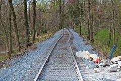 New Rail Road Track. On 1830`s Right of Way stock photo