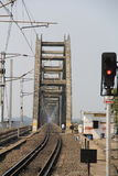 New Railway bridge  front  view near by godavari sation. New Railway bridge  front  view near by godavari station, empty track with home gads, India Royalty Free Stock Images