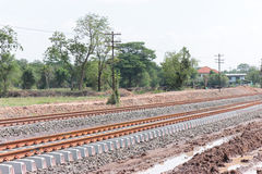 New railway. New railway in the country Royalty Free Stock Photo