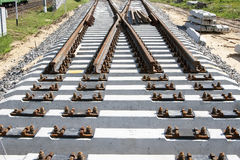 The new railway turnout. The new railway line under construction Royalty Free Stock Photos