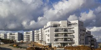 New ready residential neighborhood - last development steps bef. Ore populating.Panoramic image of construction of new block buildings Royalty Free Stock Photo