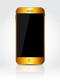 New Realistic Gold Mobile Phone With Black Screen Royalty Free Stock Image