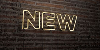 NEW -Realistic Neon Sign on Brick Wall background - 3D rendered royalty free stock image. Can be used for online banner ads and direct mailers Royalty Free Stock Photo