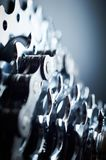 New rear mountain bike cassette with chain on the black background close up Stock Photography
