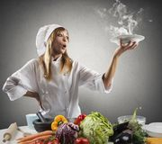 New recipe for a chef. New creative recipe for a young chef Royalty Free Stock Image