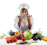 New recipe for a chef. New creative recipe for a young chef Stock Photos