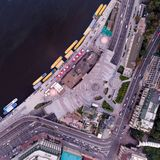 New reconstructed Postal Square in the city of Kiev. View from above. New reconstructed Postal Square in the city of Kiev with a road junction and the main road royalty free stock photos