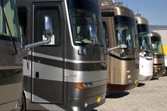 New recreational vehicles. New and used vehicles at a dealership royalty free stock photos