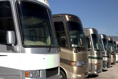 New recreational vehicles. New and used vehicles at a dealership stock photo