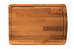 New rectangular wooden cutting board, top view, isolated - Image royalty free stock images