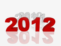 New red 2012. 3d colour numbers new 2012 and previous years vector illustration