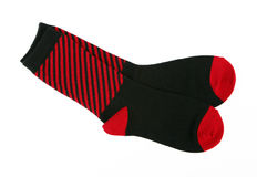 New Red / Black Striped Cotton Socks Stock Images