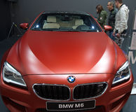 New red BMW M6 model at the Belgrade Motor Show Stock Photos