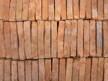 New red brick stacked  like wall. Store of bricks Stock Images