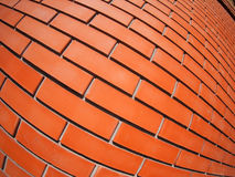 New red brick wall with distortion lens. And wide angle fisheye view royalty free stock photography