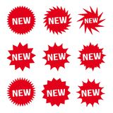 New Red Button and White Text Icon Signs Set Vector Royalty Free Stock Images