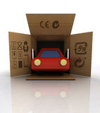 New red car delivery in transport box concept Royalty Free Stock Images