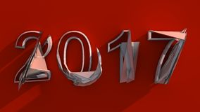 NEW RED 2017 3D ABSTRACT. NEW 2017 3D ABSTRACT NUMBER YEAR stock illustration