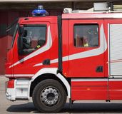 New red fire trucks with sirens blue Royalty Free Stock Photos