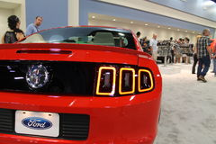New red ford mustang rear corner Stock Photo