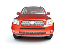 New red glossy SUV front view Royalty Free Stock Photo
