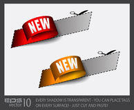 New red and gold Sticker Tag Stock Image