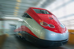 New red grey fast train Stock Photo