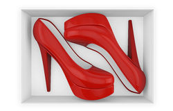 New red high heel shoes in box Stock Image