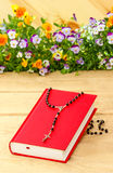 New red Holy Bible and black rosary Stock Images