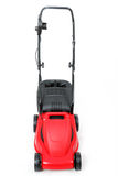 New red lawnmower on white background Stock Photos
