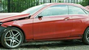 New red luxury car crashed Stock Photos