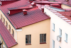 New red metal tiled roof Stock Photos