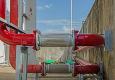 New red pipe in energy system of factory Royalty Free Stock Image