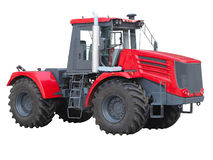 New red powerful tractor isolated over white Stock Photography
