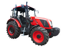 New red powerful tractor isolated over white Stock Photos