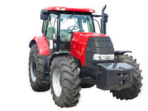 New red powerful tractor isolated over white Stock Images