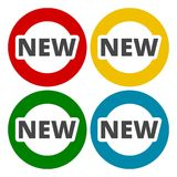 New red sign, button, icons set. Vector icon Stock Photo