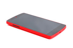 New red smart phone on white Royalty Free Stock Photos