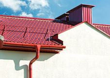 New red tiled roof with gutter Royalty Free Stock Photo