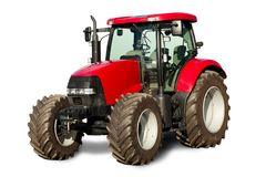 New red tractor. Isolated tractor prepared for sale