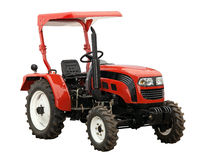 New red tractor isolated over white, with path Royalty Free Stock Photo