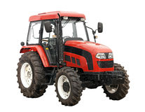 New Red Tractor Over White Background. With Path. Royalty Free Stock Photo