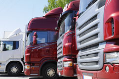 New red truck convoy Royalty Free Stock Photos