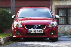 New Red Volvo at the Istanbul Streets Stock Photo
