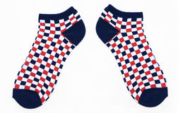 New Red, White and Blue Checkered Socks. Isolated on white background Stock Image