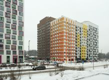 New modern residential complex in the winter. New reential complex. Russia, Moscow royalty free stock photos