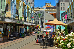 New Regent Street in Christchurch - New Zealand. CHRISTCHURCH - DEC 07 2015:Cafe restaurant in New Regent Street. Christchurch's beloved New Regent Street is Royalty Free Stock Image